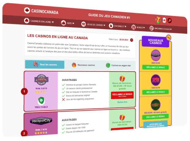 CasinoCanada.com devient disponible pour les joueurs francophones